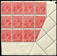 Lot 2060:1½d Red Die I Electro 24 block of 12 [R45-8,51-4,57-60] with units 54 & 60 partly imperforate due to paper fold error. A spectacular error.