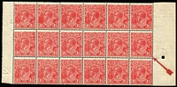 Lot 2061:1½d Red Die I Electro 24 very fine Cracked electro [24R46] in block of 18, BW #89(24)p, couple of minor tones, cracked unit is MUH and blemish free. A rare positional piece.