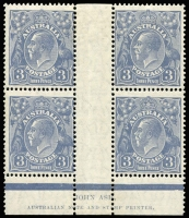 Lot 2084:3d Blue Die Ia imprint block of 4, BW #107(a)z, top units hinged, Cat $700.