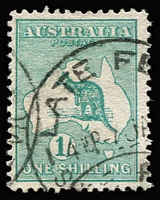 Lot 27:1/- Blue-Green with Watermark inverted, BW #30a, Late Fee datestamp, Cat $500. Fine example.
