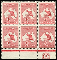 Lot 2004:1d Red Die II Sideways Watermark (crown pointing to right from face) plate F block of six (3x2) with 'CA' monogram, BW #2(F)aaz, minor perf separation in margin otherwise fresh and fine mint (lower units MUH). The only monogram block with sideways wmk. A major Kangaroo exhibition piece, Cat $45,000 (SG #2da Cat £9,600++). Ex Harrie Evans, Gray & Vestey.