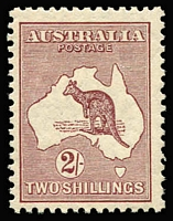Lot 566 [2 of 2]:2/- Maroon x2 both well centred with good perfs, one with toned perf and slightly aged gum, Cat $400