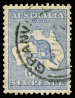 Lot 2023:6d Blue Die II variety Bite out of kangaroo's left leg - State II, BW #19(2)da, few nibbed perfs, excellent centring, Granville (NSW) datestamp does not impinge upon the flaw. Undercatalogued at $2,250. [BSAP Bulletin article (Aug 2004) records just 4 mint and 8 used examples. A stamp of similar quality sold for $2,700+ at a 2010 Melbourne auction.]