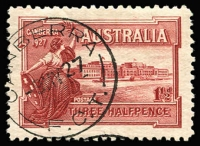 Lot 223 [2 of 5]:1927 1½d Canberra block of 4, block of 6 and 2 singles with three different Canberra first day cancels. Plus 1929 1½d WA Centenaru plate 4 block of 4 (minor water damage) with North Perth first day cancel (4)