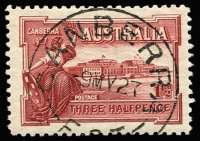 Lot 297 [3 of 5]:1927 1½d Canberra block of 4, block of 6 and 2 singles with three different Canberra first day cancels. Plus 1929 1½d WA Centenaru plate 4 block of 4 (minor water damage) with North Perth first day cancel (4)