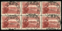 Lot 2060 [4 of 5]:1927 1½d Canberra block of 4, block of 6 and 2 singles with three different Canberra first day cancels. Plus 1929 1½d WA Centenaru plate 4 block of 4 (minor water damage) with North Perth first day cancel (5)