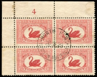 Lot 2060 [5 of 5]:1927 1½d Canberra block of 4, block of 6 and 2 singles with three different Canberra first day cancels. Plus 1929 1½d WA Centenaru plate 4 block of 4 (minor water damage) with North Perth first day cancel (5)