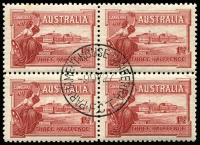 Lot 297 [1 of 5]:1927 1½d Canberra block of 4, block of 6 and 2 singles with three different Canberra first day cancels. Plus 1929 1½d WA Centenaru plate 4 block of 4 (minor water damage) with North Perth first day cancel (4)