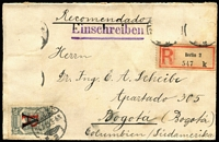 Lot 1324 [2 of 7]:1918-23 SCADTA mixed mint and used accumulation, SG #22,24,38-41,44,46,R50-1, optd [1] A (Germany) used group 15c x2, 20c, 30c x9, 60c x6, 1p and R on 20c x4 plus registered cover from Berlin to Bogota with R on 20c on face (other stamps removed); [2] E (Spain) mint & used group of 24 incl large & small R on 20c, used 1918 30c & 60c x2, [3] F (France) mint R on 20c plate block of 4 (only 1,150 produced); [4] unoptd used 30c & 60c with control dots. (53+1 cvr)