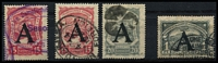 Lot 1324 [3 of 7]:1918-23 SCADTA mixed mint and used accumulation, SG #22,24,38-41,44,46,R50-1, optd [1] A (Germany) used group 15c x2, 20c, 30c x9, 60c x6, 1p and R on 20c x4 plus registered cover from Berlin to Bogota with R on 20c on face (other stamps removed); [2] E (Spain) mint & used group of 24 incl large & small R on 20c, used 1918 30c & 60c x2, [3] F (France) mint R on 20c plate block of 4 (only 1,150 produced); [4] unoptd used 30c & 60c with control dots. (53+1 cvr)