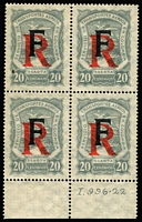 Lot 1324 [1 of 7]:1918-23 SCADTA mixed mint and used accumulation, SG #22,24,38-41,44,46,R50-1, optd [1] A (Germany) used group 15c x2, 20c, 30c x9, 60c x6, 1p and R on 20c x4 plus registered cover from Berlin to Bogota with R on 20c on face (other stamps removed); [2] E (Spain) mint & used group of 24 incl large & small R on 20c, used 1918 30c & 60c x2, [3] F (France) mint R on 20c plate block of 4 (only 1,150 produced); [4] unoptd used 30c & 60c with control dots. (53+1 cvr)