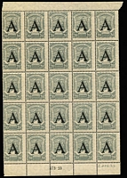 Lot 1293 [3 of 3]:1923 SCADTA complete sheets of 25 (margin faults, disturbed gum) of 25c grey & 30c dull blue x2, optd 'A' for Germany, SG #40-41, mint, odd adhesion trace. Very rare. [These stamps were only available at the Colombian Embassy in Germany.] (3 shts)