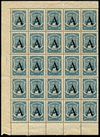 Lot 1293 [1 of 3]:1923 SCADTA complete sheets of 25 (margin faults, disturbed gum) of 25c grey & 30c dull blue x2, optd 'A' for Germany, SG #40-41, mint, odd adhesion trace. Very rare. [These stamps were only available at the Colombian Embassy in Germany.] (3 shts)