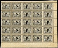 Lot 953 [1 of 3]:1923 SCADTA complete sheets of 25 (margin faults, disturbed gum) of 60c yellow-brown x2 & 1p grey, optd 'P' for Panama, SG #44,46, mint, odd adhesion trace. Very rare. [These stamps were only available at the Colombian Embassy in Panama.] (3 sheets)