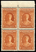 Lot 71 [1 of 2]:Newfoundland 1932 40c KGV exploded booklet (SG #SB3), with incomplete contents comprising 1c x4, 2c x4 & 3c x4 (SG #222, 223 & 211 in panes of 4) and 2 advertising interleaves. (12 panes)