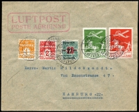 Lot 1328 [1 of 2]:1925 (Jul 27) use of 10ø & 25ø Air plus 1ø, 2ø & 27ø on 1k on air cover to Hamburg, 25ø short perfs at base, violet boxed 'Mit Luftpost/befördert/Hamburg 1' backstamp. Clean & attractive.