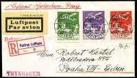 "Lot 1714 [1 of 2]:1927 (Apr 19) use of 10ø, 15ø & 25ø Air on registered air cover to Prague, endorsed ""Flugpost Kobenhavn-Prag"", 'PRAHA 82 LETISTE/20.IV.27 16/b/***.' backstamp. Clean and attractive."