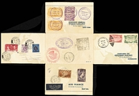 Lot 1311:1937 Air France Around the World multi-part private letter card with 3fr & 20fr tied by 'EXPOSITION 1937/PARIS TOURISME' cds, to Brazil where 700r x2 & 3000r x2 cancelled with elaborate rubber cds, to United States with 20c & 50c Airs cancelled at New York, to Hong Kong where KGV 5c & $1 and 15c Coronation cancelled, then returning to Paris. Fresh.