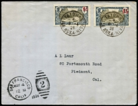 Lot 1340:1928 (Apr 8) use of 65 on 1f & 85 on 1f, cancelled with 'TAIOHAE/*/8-4/28/ILE NUKA-HIVA' (Marquesas Islands) on cover to USA.