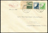 Lot 1569 [3 of 3]:1936 Hindenburg First Flight with 50rp Zeppelin on 5rp Postal Card with Luftschiff LZ 129 cancel and cover with 75rp Zeppelin and 5rp & 25rp Eagle with Friedrichshafen cancel and LZ 129 cachet. Plus (Aug 1) Olympics Flight cover with 75rp Zeppelin and 26p in other stamps. Sieger #401B,401A,427B. (3)