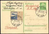 Lot 1152 [2 of 3]:1936 Hindenburg First Post with 50rp Zeppelin on 5rp Postal Card with Luftschiff LZ 129 cancel and cve with 75rp Zeppelin and 5rp & 25rp Eagl with Friedrichshafen cancel and LZ 129 cachet . Plus (Aug 1) Olympics Flight cover with 75rp Zeppelin and 26p in other stamps. Sieger #401B,401A,427B. (3)