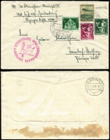 Lot 1152 [1 of 3]:1936 Hindenburg First Post with 50rp Zeppelin on 5rp Postal Card with Luftschiff LZ 129 cancel and cve with 75rp Zeppelin and 5rp & 25rp Eagl with Friedrichshafen cancel and LZ 129 cachet . Plus (Aug 1) Olympics Flight cover with 75rp Zeppelin and 26p in other stamps. Sieger #401B,401A,427B. (3)