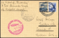 Lot 1153:1936 Hindenburg North America Flight with 50rp Zeppelin on 15rp Eagle on plain postcard from the return flight. Sieger #431A.