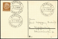 Lot 1154 [3 of 3]:1938 Graf Zeppelin Sudetenland Flight with 50rp Eagle on plain postcard with printed address, red cachet at left; 1939 Gorlitz Flight with 3rp on plain postcard; 1938 Munster Flight with 3rp on plain postcard. Sieger #456,458,459II. (3)