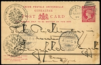 Lot 1394:1898 QV 1d+1d reply card with Dot after RESPONSE, HG #24a, 1899 use to Germany, with consular handstamps for both Germany & Austria on face.