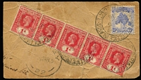 Lot 1371:1915 (Mar 6) use of 1d red KGV strip of 5 & 2½d Pandanus (cat £250 on cover) on part baggage label to USA, poor Sydney transit of 23MR15.