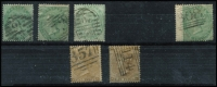 Lot 1931 [2 of 2]:1855-64 No Letters 1/- deep green, 1/- green x5 (incl 1 pair, 1 with left wing margin), Small White Letters 9d bistre & 9d straw. Cat £3,350. Nice used examples. (8)