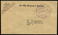 Lot 1177:1952 Austria neat OHMS cover with fine 'ARMY/WIEN19.1.52/SIGNALS' to BTA 4, from British Occupation forces in Vienna.