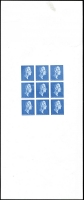 Lot 1497 [2 of 2]:1979-81 Harrison Photogravure Trial with head of Thomas Richard Harrison in blue in imperforate m/s of 9, on phosphor coated paper with dextrin gum, thin at very top of sheet well away from stamps. Several stamps show obvious plate flaws.