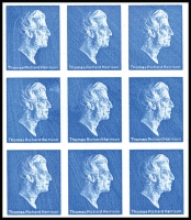 Lot 1497 [1 of 2]:1979-81 Harrison Photogravure Trial with head of Thomas Richard Harrison in blue in imperforate m/s of 9, on phosphor coated paper with dextrin gum, thin at very top of sheet well away from stamps. Several stamps show obvious plate flaws.