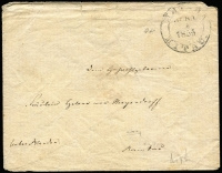 Lot 2094 [1 of 2]:1855 (Dec 7) use of 1848 Russia 10k+1k black Envelope (HG #B12a) from Mitau, a bit worn.