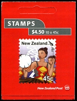 Lot 2175 [1 of 2]:2006 $4.50 Kapa Haka (Maori Culture) Booklet A famous modern rarity. The stamps and booklets were withdrawn 3 days from the issue date. Only eleven booklets of 10 were sold, many of which have been broken down into booklet pairs, see Gibbons footnote after SG #2885, Len Jury #1931b, Cat NZ$25,000 [A previous example sold for $13,200+ at a May 2012 Melbourne auction]