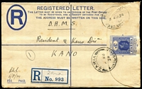 Lot 1477 [2 of 8]:1924-35 group of Registration Envelopes with [1] 1924 Zaria to Kano x3 (provl registration labels x2); [2] 1926 Sapele to England; [3] 1935 Forcados to England; [4] 1925 Lagos to Germany; [5] 1930 Makurdi to Germany; [6] 1930 Benin City to USA. (8)