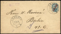 Lot 2253:1905 Overprints on Russian Envelopes 10k size h, HG #RB2, 1906 use from Hankow to Berlin.
