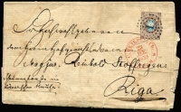 Lot 1495:1859 (Dec 23) use of 1858 10k blue & brown cancelled with '1' tied by St Petersburg, on entire to Riga.