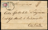 Lot 1496 [1 of 2]:1875 (Aug 4) outer with 1875 8k, from Taganrog to Orebich (modern Croatia).