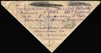 Lot 1391:1942 (Jun 5) inwards triangular stampless letter into blockaded Sevastopol. Rare mail to a city under continual bombardment for over 250 days. It fell to the Germans a few weeks later.