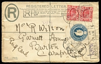 Lot 1415 [1 of 2]:1910 (Sep 10) use of 4d blue KEVII Registration Envelope uprated with 1d red KEVII pair from Nylstroon to England.