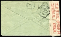 Lot 1520 [2 of 2]:1941 (Feb 27) use of 1d Ship x3 on censored cover to USA, re-addressed to Inharrime, Portuguese East Africa (arrived 30.5.41) and re-censored again in South Africa.