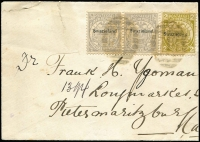Lot 1528 [1 of 2]:1896 (Jul) use of ½d pair & 2d ovptd 'Swazieland' (cancelled with poor '718' of Embekelweni) on reduced cover to Pietersmaritzburg