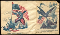 Lot 1545:1860s Civil War Union patriotic cover printed by D. Murphy's Son, NY with additional patriotic cut-out on address side, corner fault.