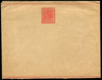 Lot 735:1902 Wrapper With Double Borders 1d red 109x277mm, PSSA #WR2, Cat $250, fresh mint.