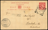 Lot 1504:1902 (Jan 27) use of 1a Postal Card (no message) to Germany, with boxed 'TOO LATE.' on face.