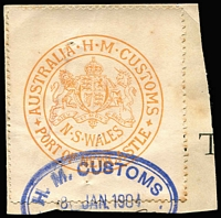 Lot 829:Customs Clearance Seals red/white Port of Newcastle P11½, cancelled 8JAN1904.