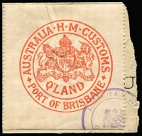 Lot 830:Customs Clearance Seals red/white Port of Brisbane Imperf xP11½.