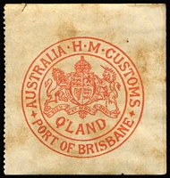 Lot 758:Customs Clearance Seals red/white Port of Brisbane P11½ at left only, mint but toning.